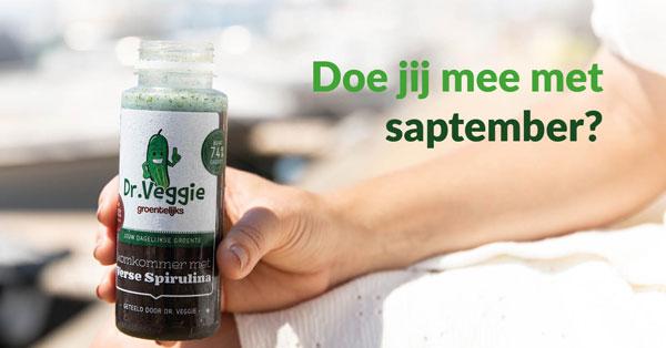 Afbeelding met spirulina groente sap van Dr Veggie